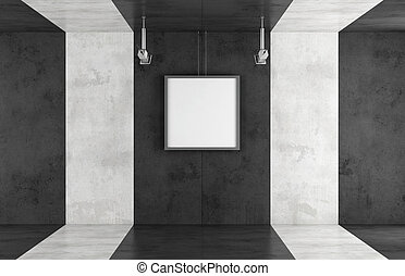 Black and white contemporary art gallery