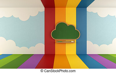 Colorful playroom with blackboard - Playroom with blackboard...