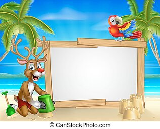 Beach Christmas Santas Reindeer - Cartoon Santa Claus and...