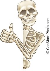 Thumbs Up Cartoon Skeleton Sign - A skeleton Halloween...