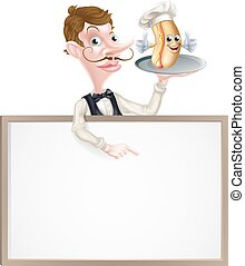 Cartoon Hotdog Waiter Sign