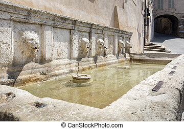 Historic fountain in Assisi, Italy