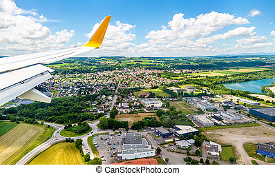 Landing at Euroairport Basel-Mulhouse-Freiburg. View of...