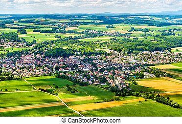 Aerial view of Sierentz village in Haut-Rhin - France -...