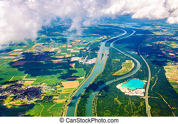 The Rhine and The Grand Canal of Alsace at Fessenheim as...
