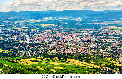 Aerial view of Mulhouse - Haut-Rhin, France - Aerial view of...