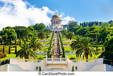 Shrine of the Bab and lower terraces at the Bahai World...