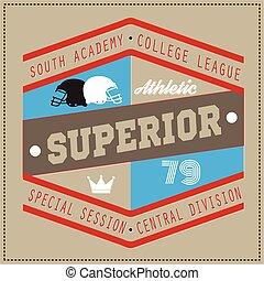 College Superior university division team sport label...