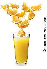 Oranges falling in the orange juice - Orange partitions...