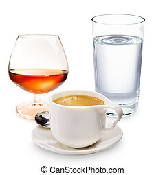 Coffee liqueur and a glass of water - Espresso with a glass...