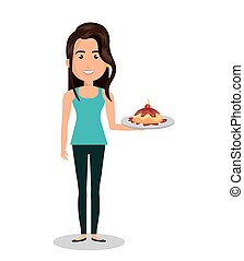 woman cartoon holding dessert cake isolated