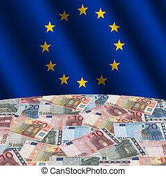 EU flag with euros