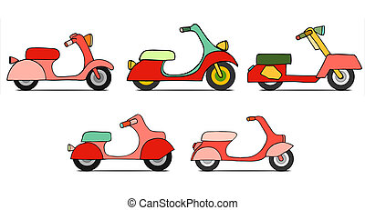 isolated Classic moped - art flat design scooter. Classic...