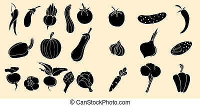 Vegetables Icons. - Set of Vegetables Icons. illustration...