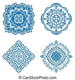 ornament - Set of Rosette ornament. Isolated on white. art...
