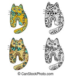 Funny cats - art funny cats with floral ornament. art...