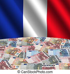French flag with euros
