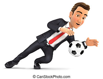 3d businessman stopping soccer ball, illustration with...