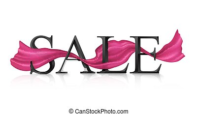 Black vector SALE sign with pink silky ribbon trough it