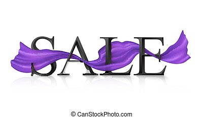 Black vector SALE sign with violet silky ribbon trough it