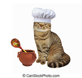 Cat cook pot - Scottish Straight cat cook in chef hat.