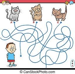 path maze activity illustration - Cartoon Illustration of...