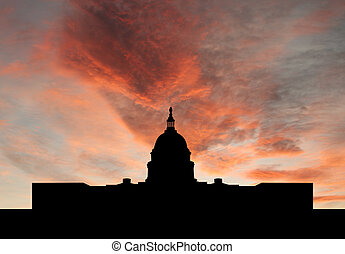 US capitol building at sunset - US capitol building...