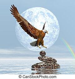 Eagle landing on balanced stones - 3D render - Eagle landing...