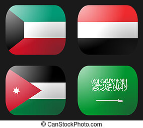 Kuwait Saudi Arabia Jordan Yemen Flag buttons illustration