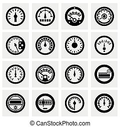 Vector Meter icon set on grey background