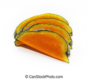 Slices of honeydew pumpkin - Four slices of honeydew pumpkin...