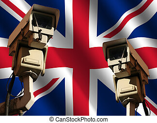 two cctv cameras with flag - two CCTV cameras and rippled...