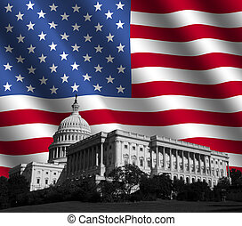 US Capitol with American flag - US Capitol building...