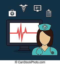 set doctor laptop services medical isolated vector...