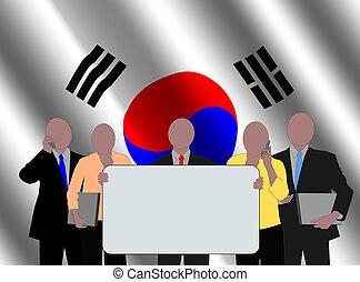 Korean team with flag