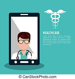 set smartphone services medical isolated vector illustration...