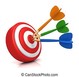 bullseye target concept illustration - bullseye target 3d...