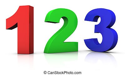 multicolored numbers - big red green and blue 3d numbers 123...