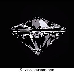 Diamond in front view. Vector illustration