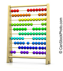 abacus - 3d renderingillustration of an abacus with rainbow...