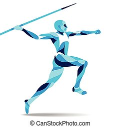 Trendy stylized illustration movement, javelin-throwing, line vector silhouette of - - stock