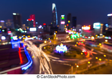 Ho Chi Minh city or Saigon bokeh abstract background