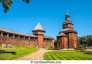 Rebuilt wooden church located inside of the Baturyn citadel...
