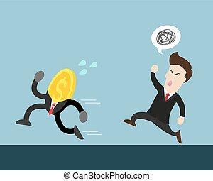 coin run away from businessman - coin money run away from...