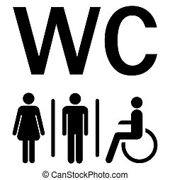 WC sign Men Women wheelchairs - silhouettes of man, woman...
