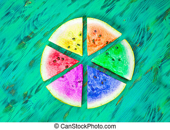 Watermelon slices lgbt concept Green wooden background View...