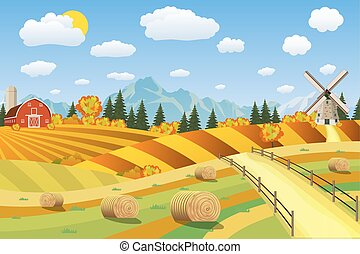 Countryside landscape with haystacks on fields. Rural area...