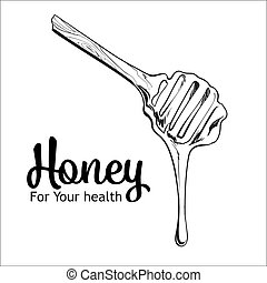 Wooden honey dipper isolated on a white background - Wooden...