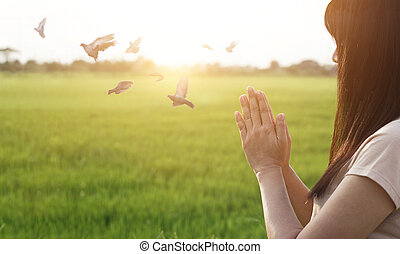 Woman respect and pray on nature background