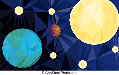 Earth, Sun and stars in space